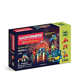 Магнитный конструктор Магформерс S.T.E.A.M. BASIC 200 деталей + 40 карточек арт. 60507 + подарок коробка